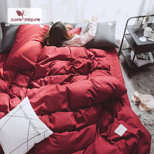 SlowDream Wine Red Bedding Set Bedspread Double Queen Bed Flat Sheet Linens Decor Home Duvet Cover Japan Style Luxury