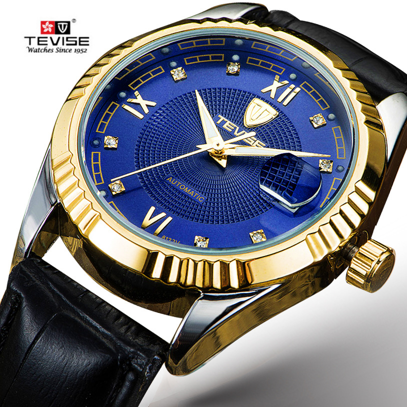 New Brand luxury wrist watch men leather strap Automatic Mechanical Wristwatches male waterproof Calendar Luminous P629-003 цена и фото