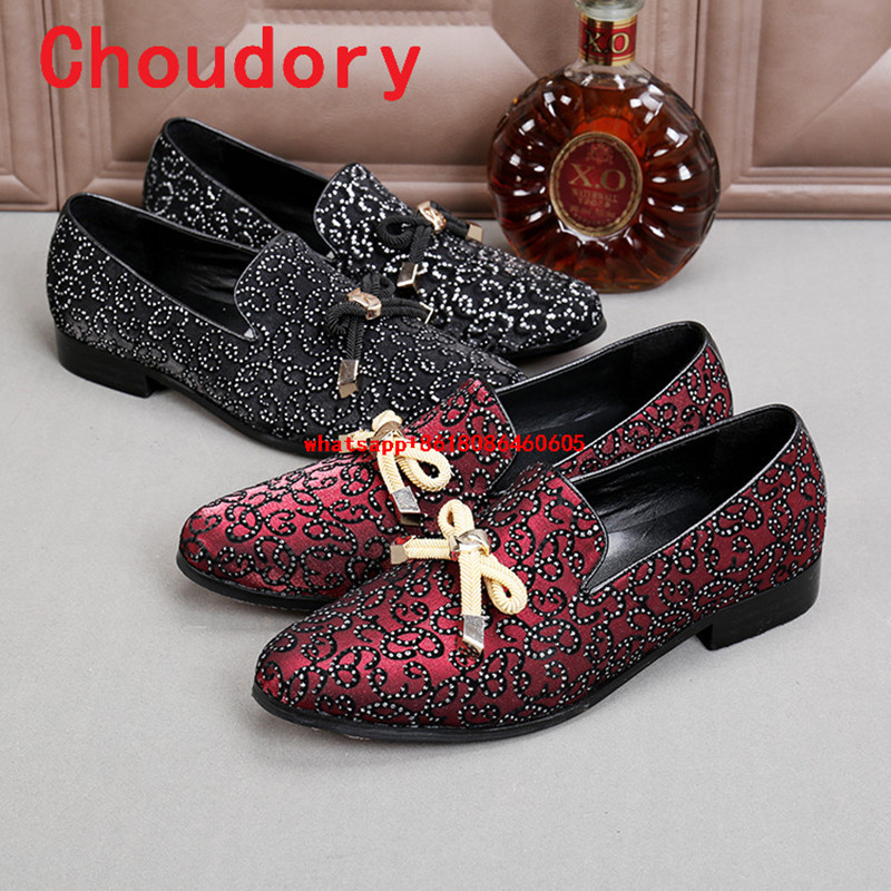Choudory Italian shoes men leather handmade black red rhinestone slip on loafers mens oxfords dress wedding prom shoes new arrived royal blue rhinestone mens loafers luxury fashion slip on men suede shoes handmade men s wedding and prom shoes