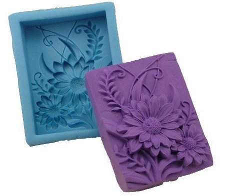 Flower Gift Square Silicone Soap DIY Mould Candle Making Mold Handmade Art Craft Soap Making Mold 3d Soap Mould