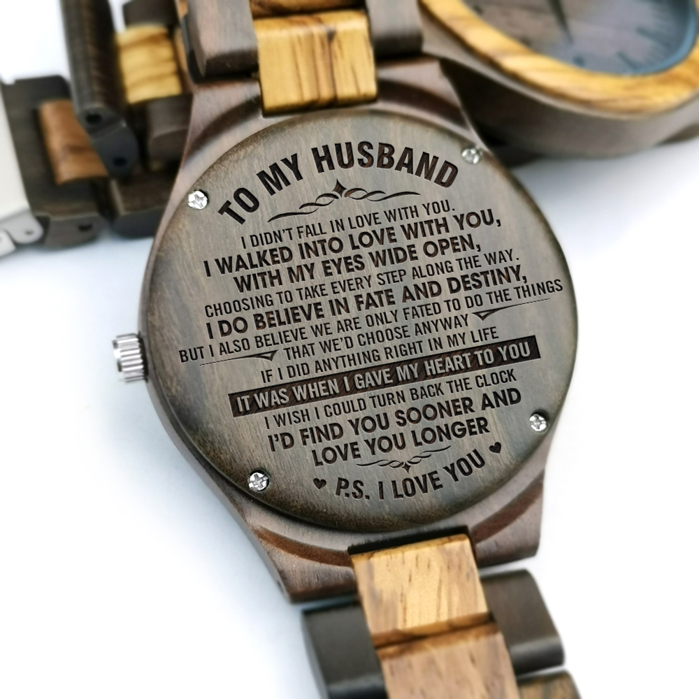 To My Husband-I Love You Engraved Wooden Watch Sandalwood Or Maple Wood Quartz Mens Watches Birthday Holiday Anniversary Gifts