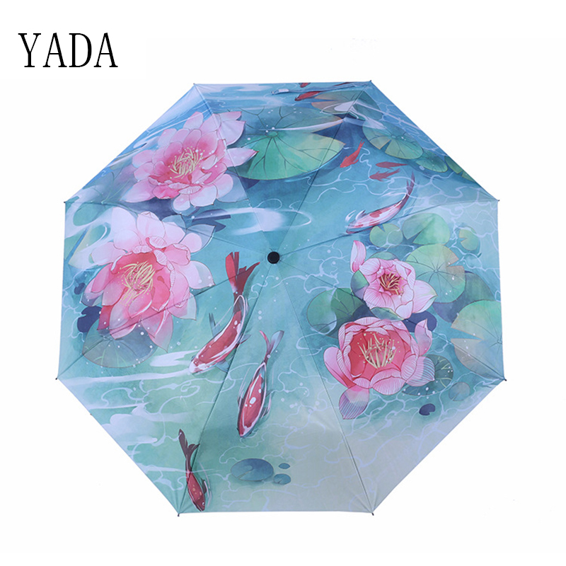 YADA NEW Charms Fish Theatre Umbrella Rain Women uv High Quality Umbrella For Womens Windproof Folding Handmade Umbrellas YS105 in Umbrellas from Home Garden