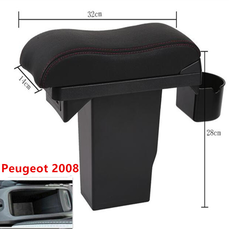 For peugeot 2008 armrest box Central Storage Box