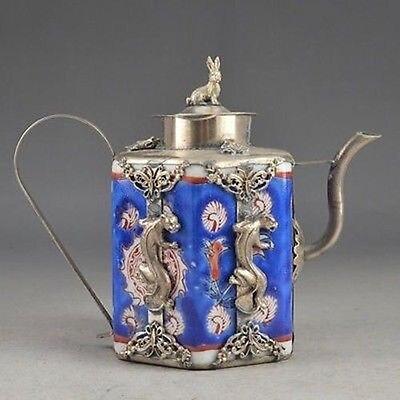 Лев бронированный фарфора Медь коллекционные Ручная Старый кролик Чай горшок украшения сада 100% Настоящее Тибетский серебро латунь