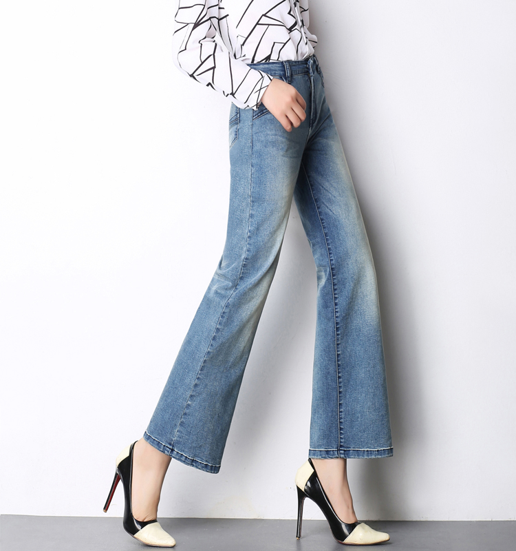 Wide leg pants for women plus size high waist casual denim jeans spring autumn cotton blend new fashion female capris run0702 plus size side stripe wide leg blue capris jeans 4xl 7xl oversized tassel irregular fringe ankle length denim pants