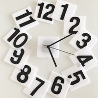 Новые творческие настенные часы акриловый материал электронный механизм черный и белый цифровой стиль наклейки зеркало часы немой