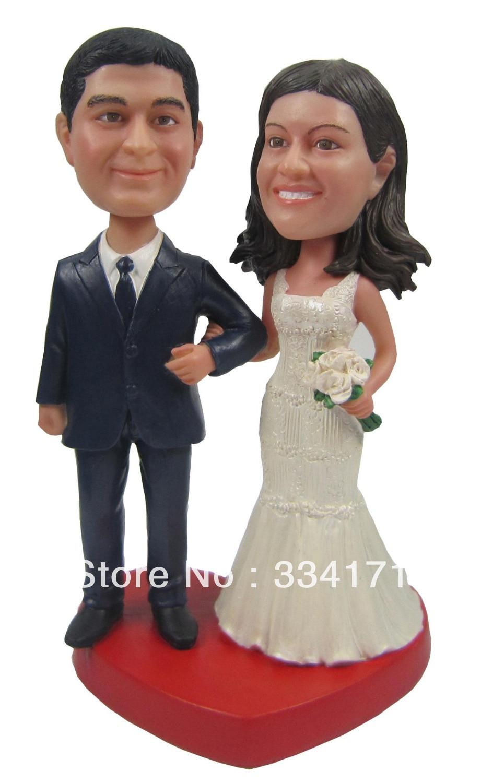 Fedex free shipping Personalized bobblehead doll bride and groom wedding gift wedding decoration polyresin