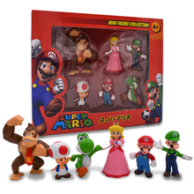Super Mario Anime Figure 6 Style Bros Mario PVC Action Model Doll Toys For Kids Gifts Free Shipping цена 2017