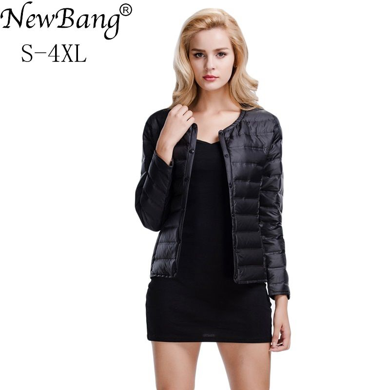 NewBang Feather Coat Ultra Light Down Jacket Women Lightweight Portable Slim Female Windbreaker Collarless Coat Warm Linner