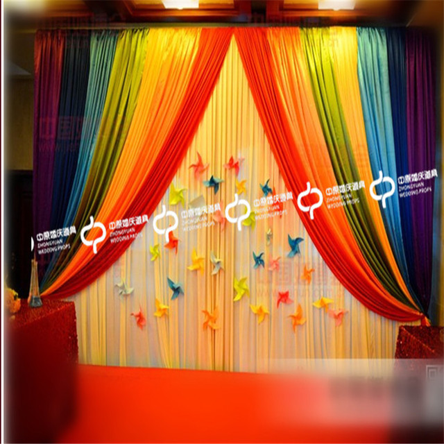 Express Free Rainbow Color Wedding Stage Backdrops Decoration Romantic Curtain With Big Swags Easy