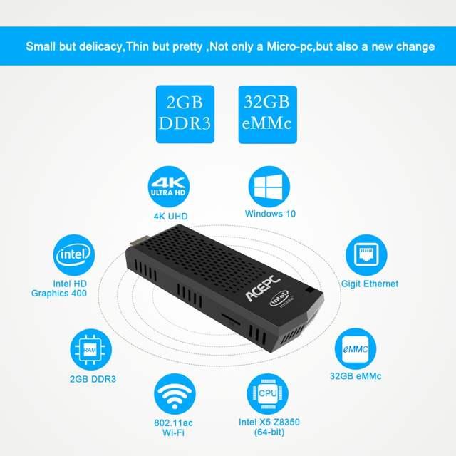 ACEPC T6 Mini PC HDMI Stick Computer Fanless Windows 10 licenced Intel Atom  X5 Z8350 2GB DDR3 32GB 4K/Bluetooth 4 0/5G WiFi