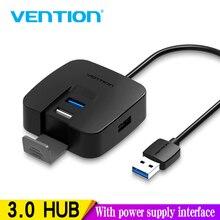 Концентратор Vention с 4 портами USB 3,0, порт питания Micro USB и держатель для телефона, usb разветвитель, адаптер для карта для ноутбука, картридер, концентратор для планшета 2,0, 1 м