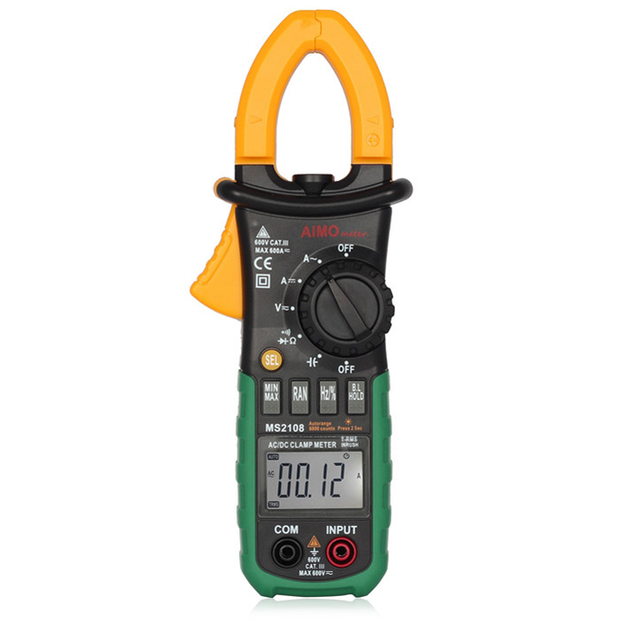 AIMOMETER MS2108 600A AC / DC True RMS Digital Clamp Meter / Multimeter Auto Range with Backlight / Worklight my68 handheld auto range digital multimeter dmm w capacitance frequency