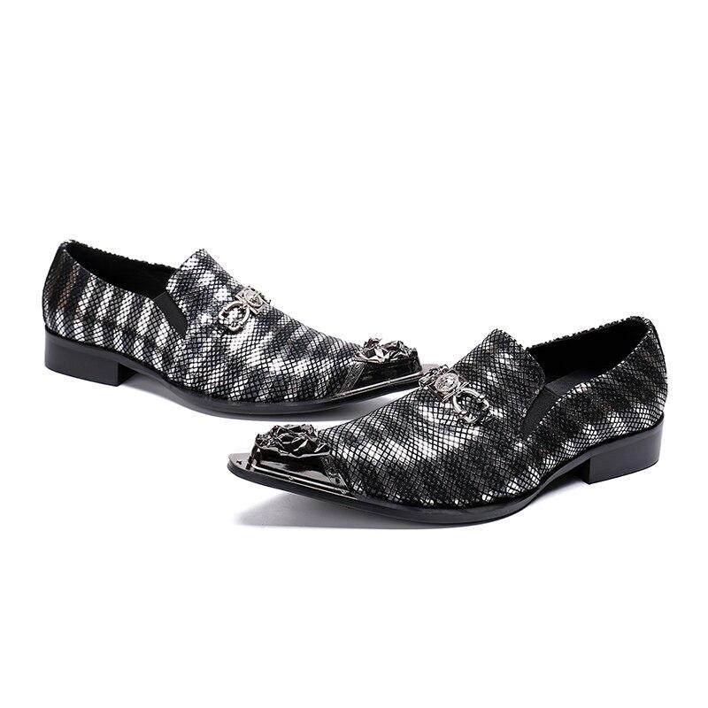 1 Slip Lujo Toe Genuino Hombres Vestido Grande Zapatos Mens En De Negocios Cuero Puntiagudo 46 Mocasines Metal Tamaño Boda Us12 Nuevo Diseño 01qEa