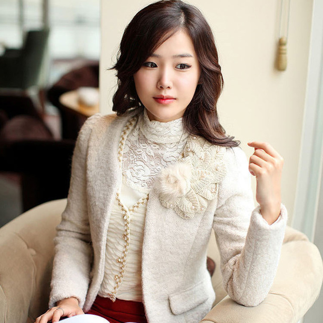 2013 new Korean version of women's fashion wool jacket spring Slim small suit jacket