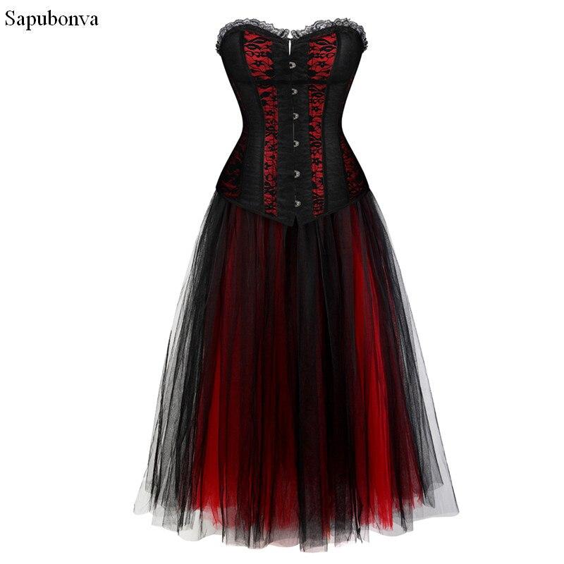 Sapubonva Vintage Steampunk Corset Dress Long Victorian Retro Gothic Corset Top Burlesque Lace Corset and Bustiers