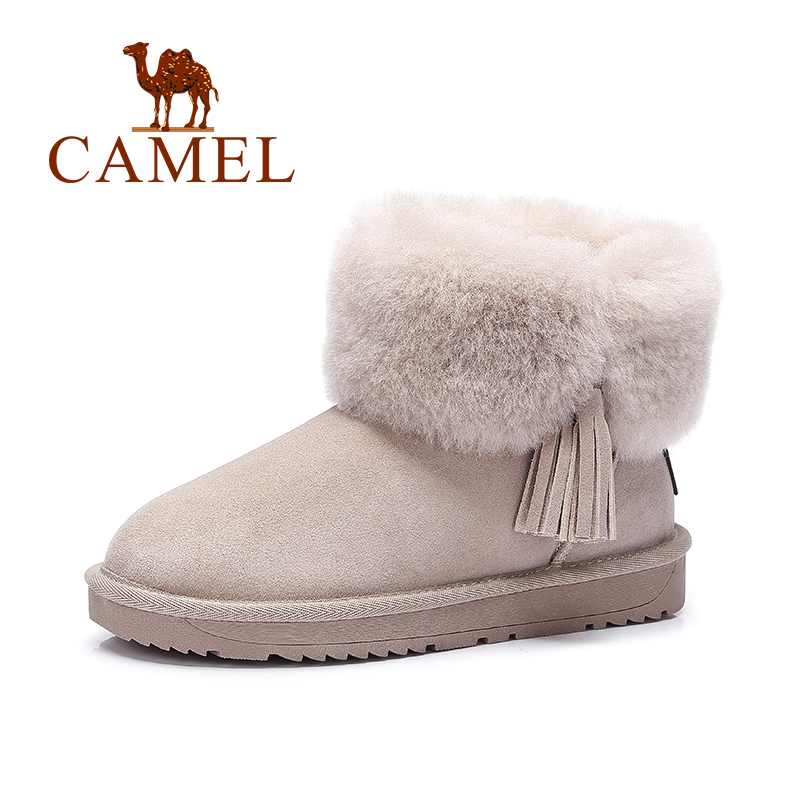 Camel Women's Velvet Snow Boots Nubuck Leather Winter Flat Boots
