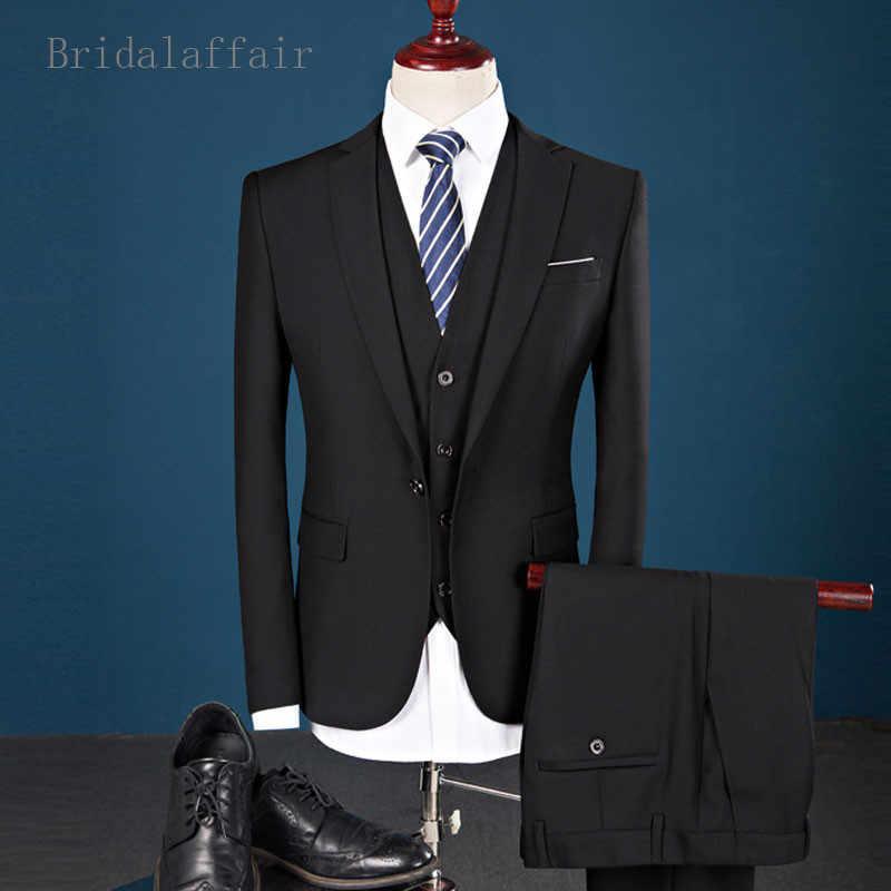 Bridalaffair男性スーツ2018フロントパンツウェディングスーツ3ピーススリムフィット黒青ブルゴーニュスーツメンズ新郎タキシードジャケットパンツベスト