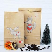 912ba7d85 36 unids bolsas de papel Kraft Feliz Navidad para regalos con pegatina Fox  Moose copo de