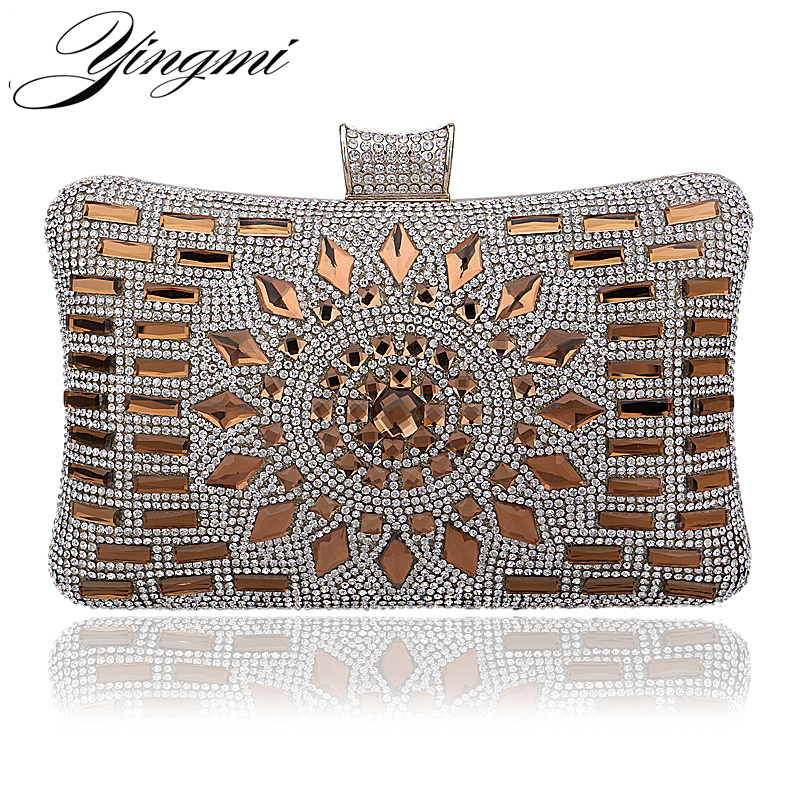 YINGMI Acrylic Women Luxurious Diamonds Clutch Evening Bags Lady Messenger Shoulder Chain Bags For Wedding/Party/Dinner Handbags free shipping 2015 top gifts new bride rhinestone evening bags punk colored acrylic diamonds clutch bag shoulder handbags 0430
