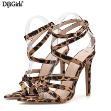 Women High Heel Sandals Sexy Cross-Tips Fine Belt Ultra-High Heels Summer Leopard Striped Buckle Ladies