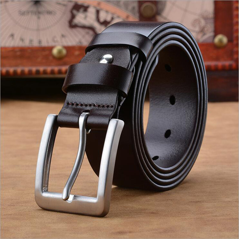 2019 acier inoxydable Boucle Véritable ceinture en cuir Hommes 100% Cowskin ceintures de jeans D'affaires Mâle Ceinture garantie de qualité XKS016