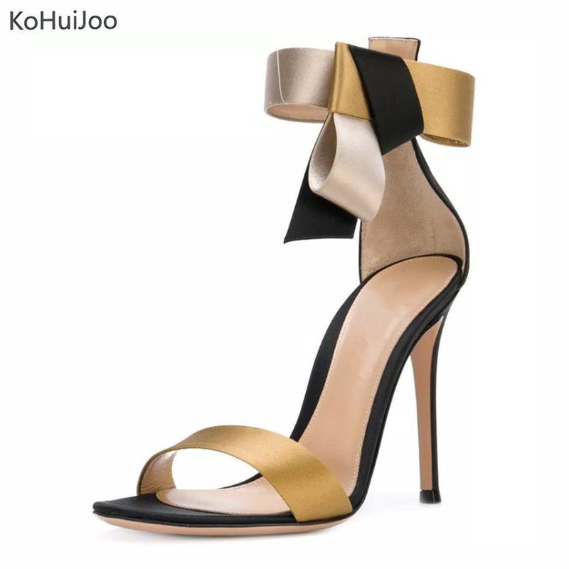 KoHuiJoo 2018 Hot Sell Sex Gold High Heel Sandals Women Buckle 11.5 Cm Thin Heel Party Dress Shoes Women Flock Upper High Heels hot sell women high heel sandals gold gladiator sandal shoes party dress shoe woman patent leather high heels 5186 11a