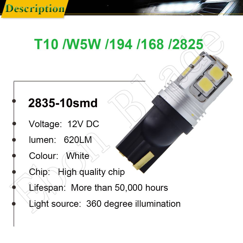 Image 2 - Pair T10 W5W 194 168 2825 White Canbus LED Bulbs For Car Interior Dome Map Light Automobiles License Plate Parking Lamp 12V DC-in Signal Lamp from Automobiles & Motorcycles