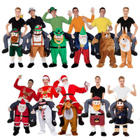 Mario/Santa Claus Ride on Me Mascot Costumes Carry Back Funny Animal Pants Christmas Halloween Party Costume for kids&adult