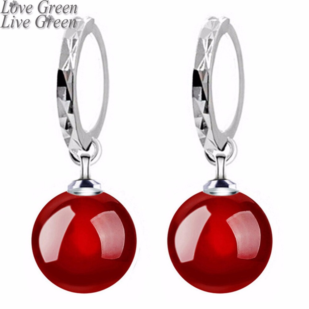 2019 Pretty New Arrival Shine Natural Stone Red Black Lady Women Silver Plated Float Drop Earrings Fashion Jewelry 80316