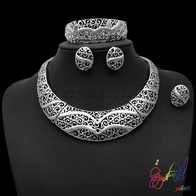 2016 Big regular hollow out pattern jewellery sets Top quality wholesale silver-plated women jewelry sets2016 Big regular hollow out pattern jewellery sets Top quality wholesale silver-plated women jewelry sets