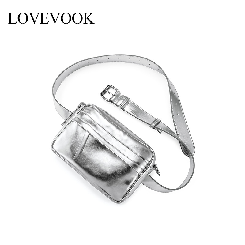 Lovevook Women Belt Bags Fashion High Quality PU Leather Waist Pack Cross-body Messenger Bag For Ladies Luxury With Card Pockets