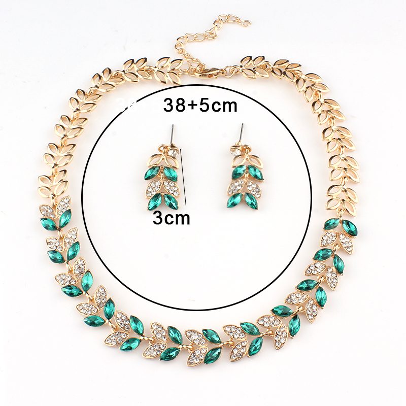 Jiayijiaduo New Wedding Jewelry Sets For Charming Women Dresses Dating Accessories Green Glass Crystal Necklace Earrings Sets #2