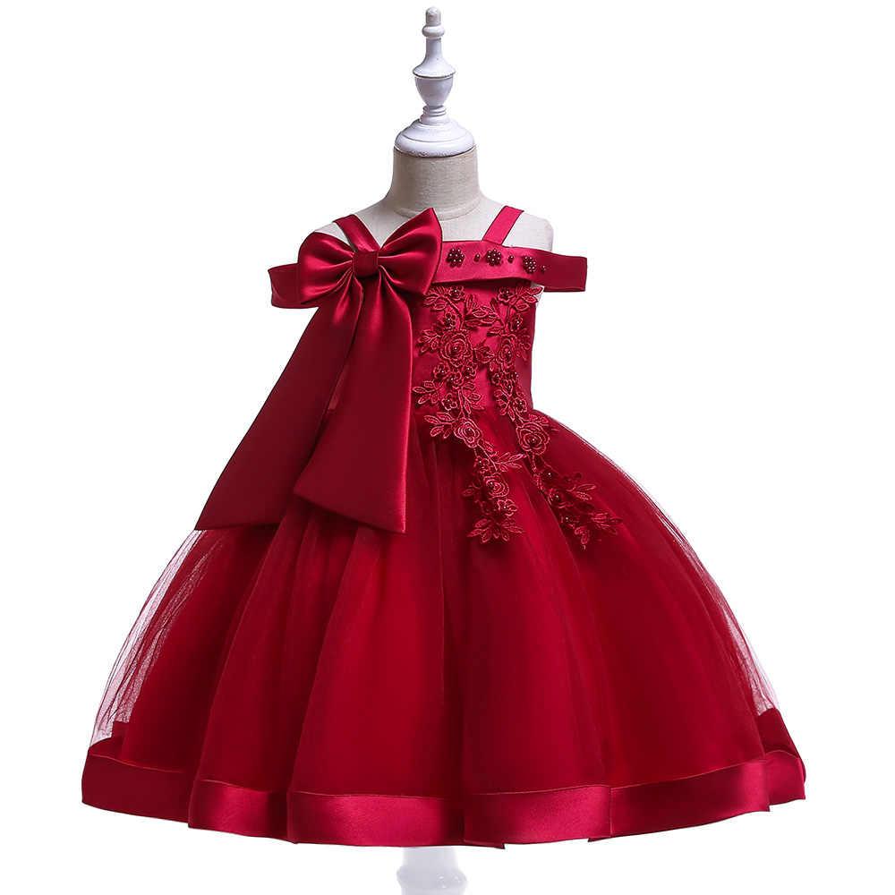 2257a55c Retail 3-9 Years Kids Appliques Flower Girl Dresses Children Girl Elegant  Wedding Dress With