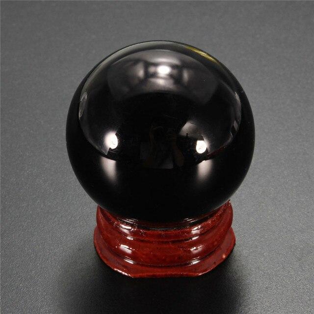 Лаки Природный 40 мм Черный Обсидиан Сфера Crystal Ball Исцеление Камень С Подставкой Домашнего Офиса Ремесло Украшения Праздничные Подарки