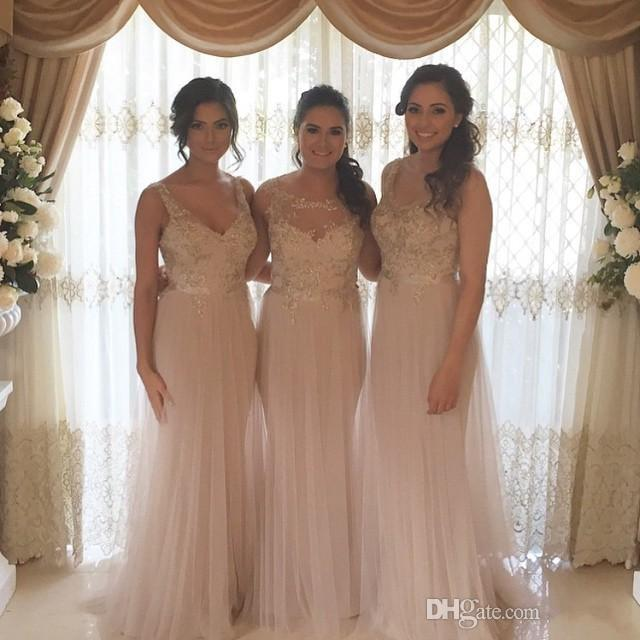 b3d265b8576 Blush Pink Long Bridesmaid Dresses Beaded Lace Appliques Shing Tulle Ruched  Maid of Honor Party Dress 3 Designs Charming Evening
