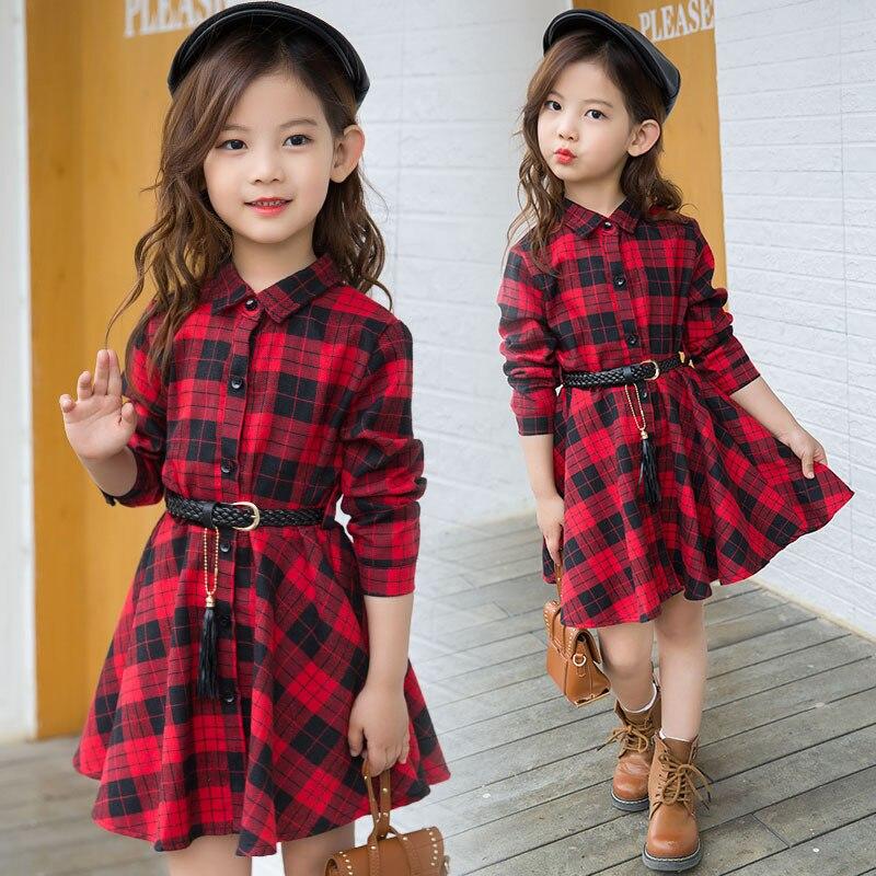 Camisa das meninas de algodão vestido xadrez primavera roupas para crianças e outono nova digital cintura vestido longo da luva
