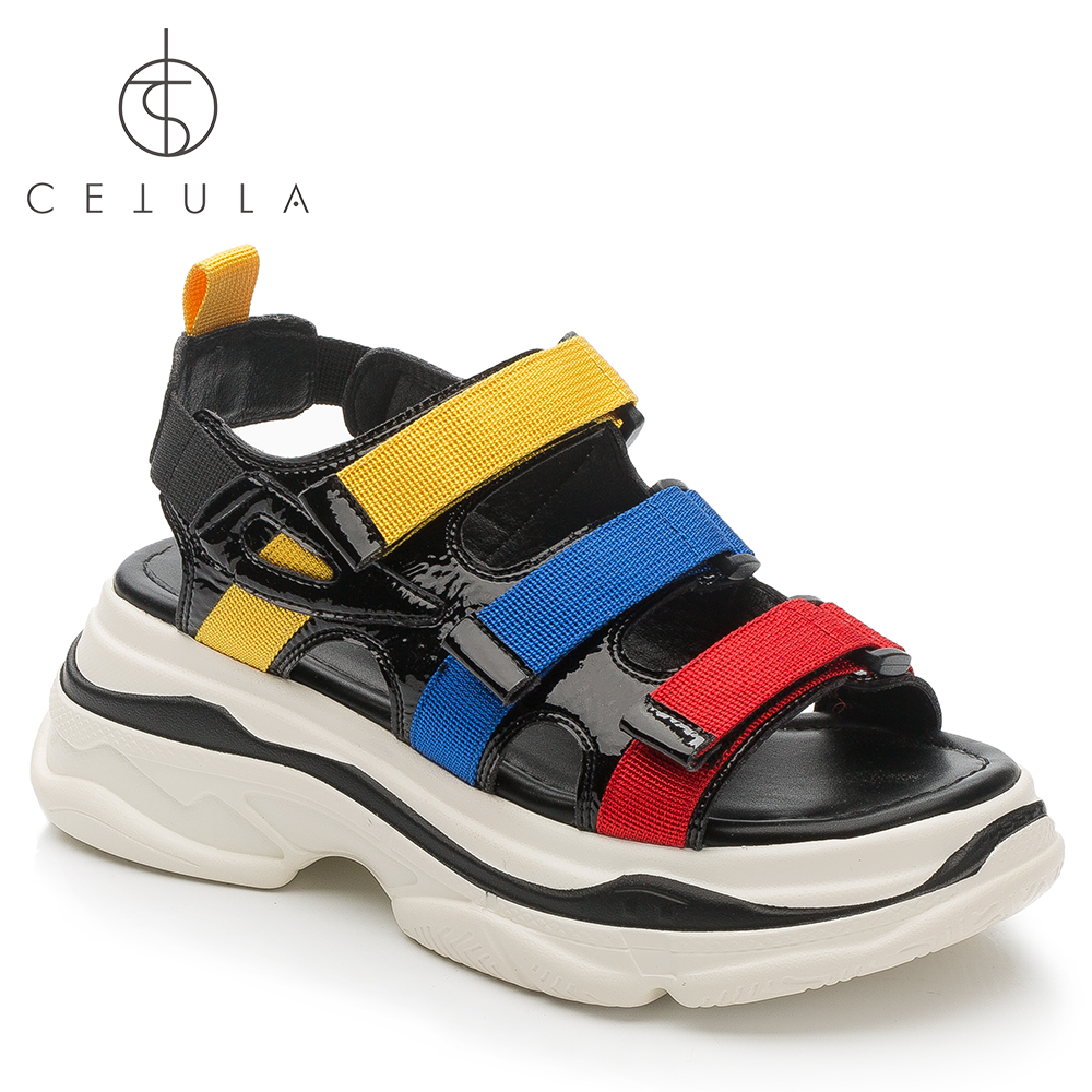 72b28c3a479c89  Cetula 2018 Handcrafted Summer Leisure Multi-corlors Buckled Stripes  Patent Leather Female Wedged Sandal