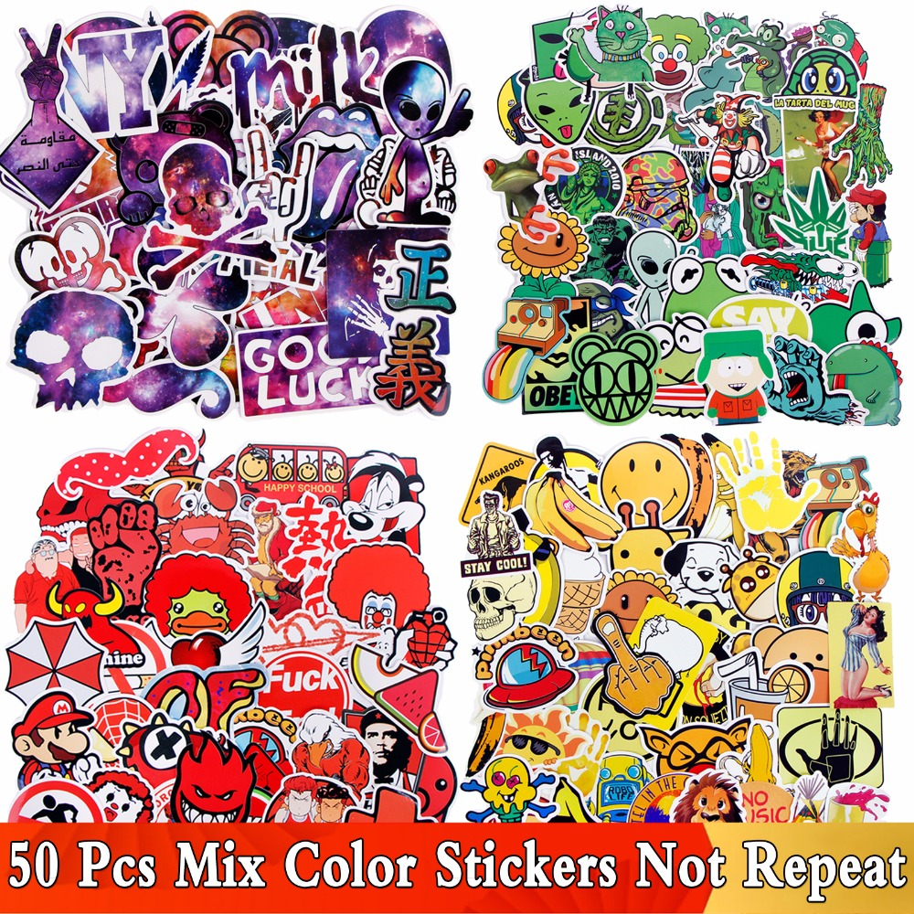 50 PCS/ Lot Funny Yellow Green Red Color Stickers For Laptop Luggage Car Phone Skateboard Bike Home Decor Decal Cool JDM Sticker no airbags we die like real men bumper stickers funny vinyl decal for truck windows black silver white yellow red