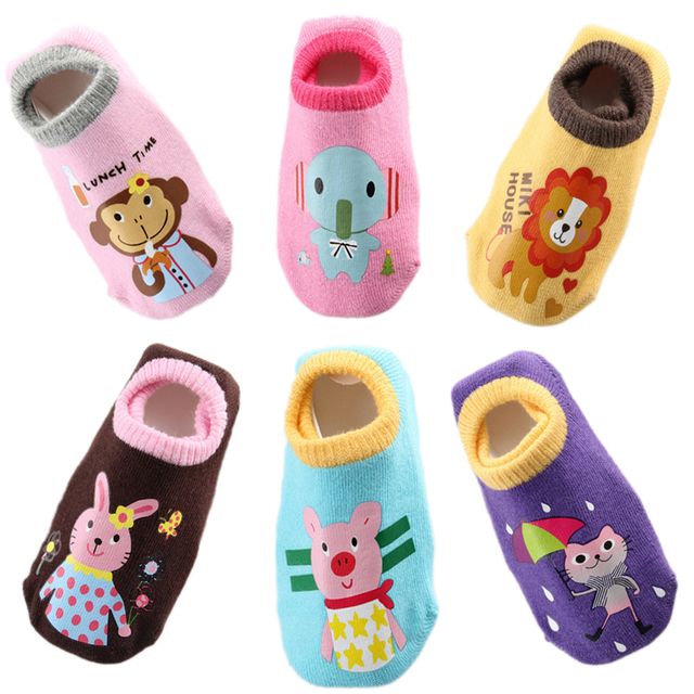 6 Pairs Baby Socks Infant Boy Girl Anti Slip Skid Short Socks