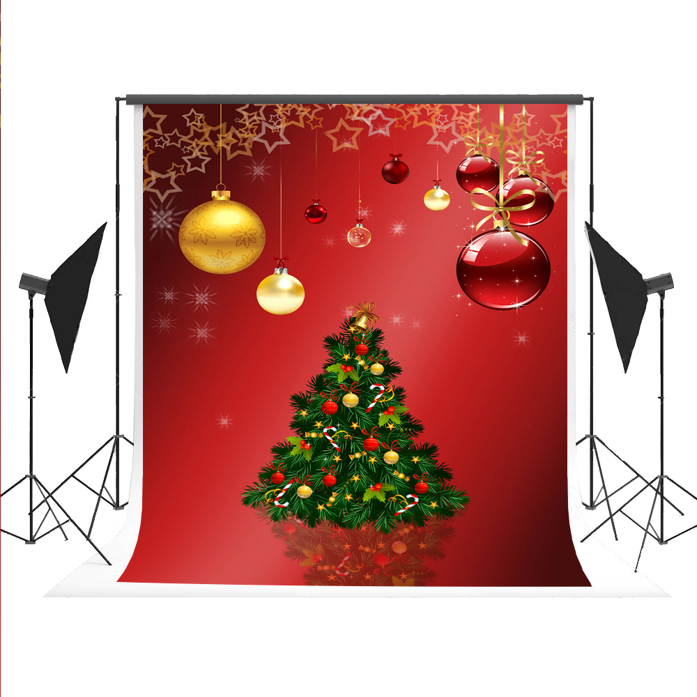 Christmas Tree Ball Backdrop Cartoon Photography Backgrounds Red Tapety Photo Booth Photocall for X-mas Fond Photos Studio 5x7ft