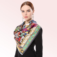 Top grade 100% Pure Silk 90*90cm Large Square Scarf women Luxury Brand original design scarves for Elegant Lady