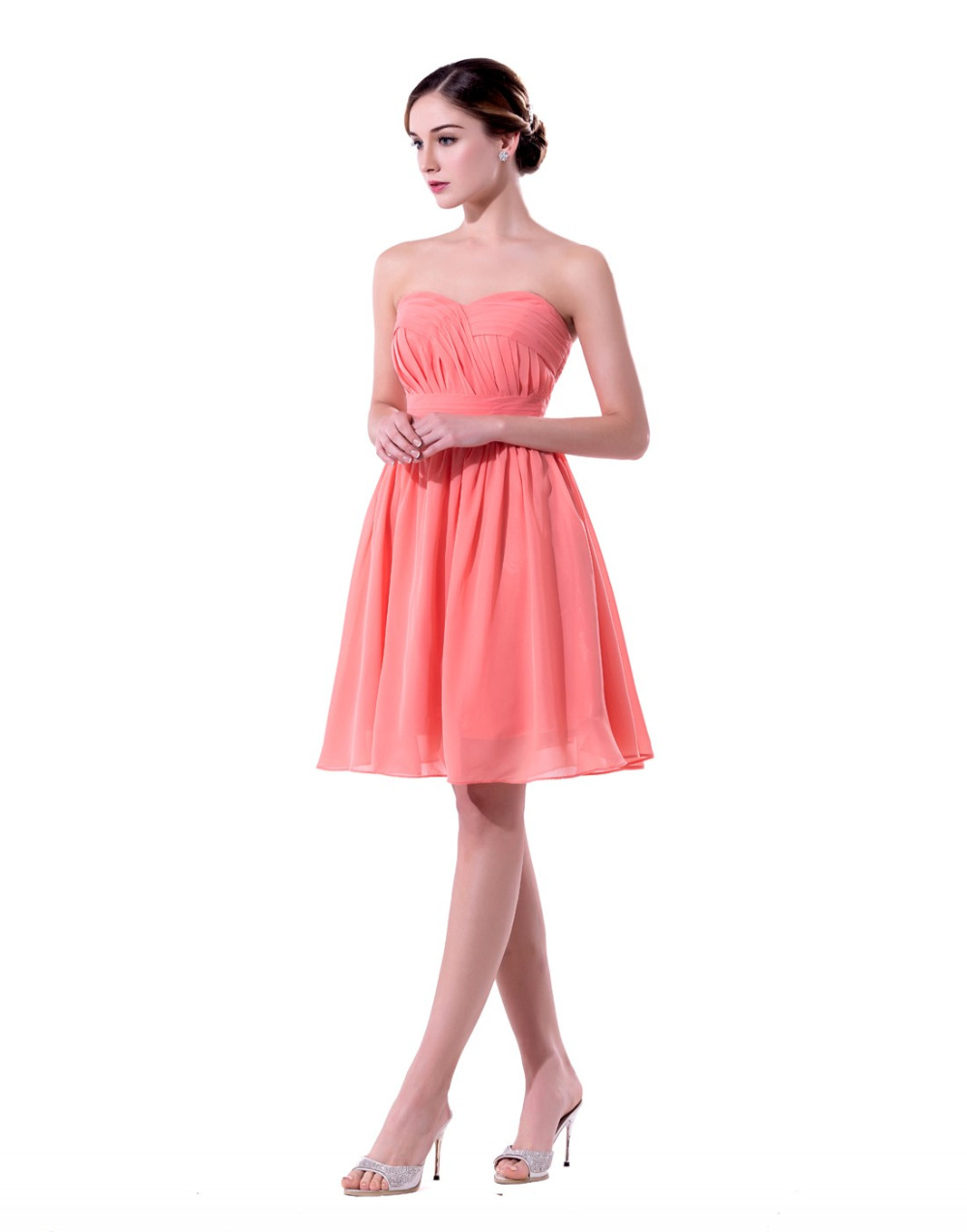 Online get cheap dress different length aliexpress alibaba mixed different style coral colored bridesmaid dresses short 2017 wedding party dresses knee length maid of ombrellifo Images