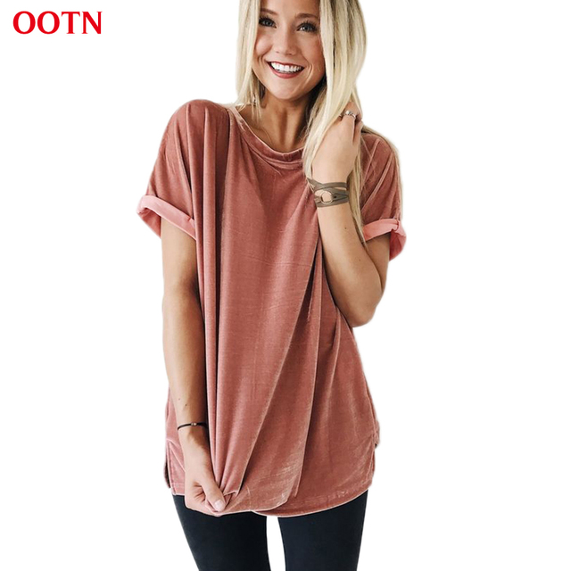 OOTN Cotton Velvet Top Women Pink T shirts Female Side Split Tee Shirt Club Solid O Neck Short Sleeve Autumn Winter Tops Velour