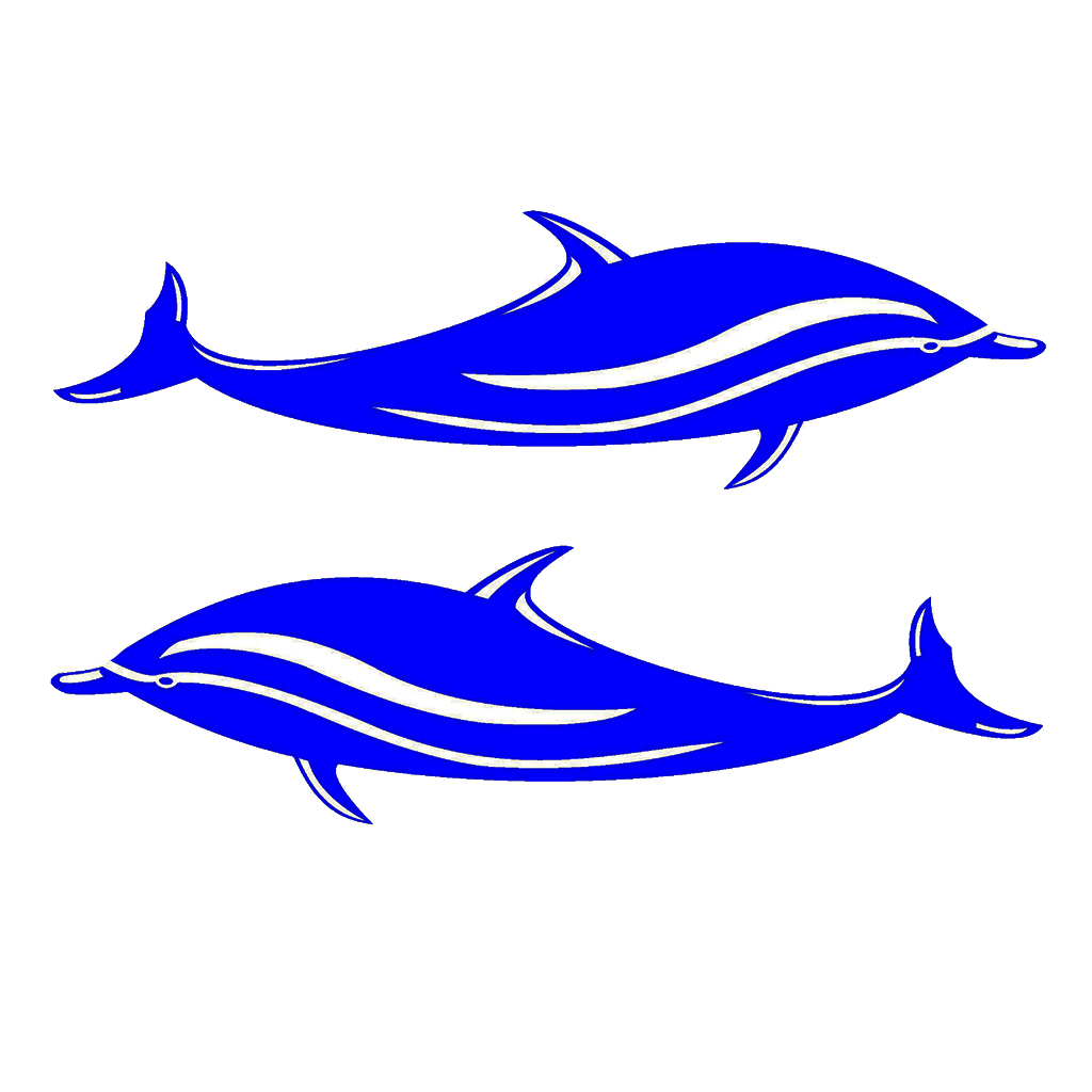 2 Pcs Blue Dolphin Vinyl Decals Stickers For Kayak Canoe Shipping Boat Car Auto Truck Window 18cmx5cm Fishing Boat Sticker