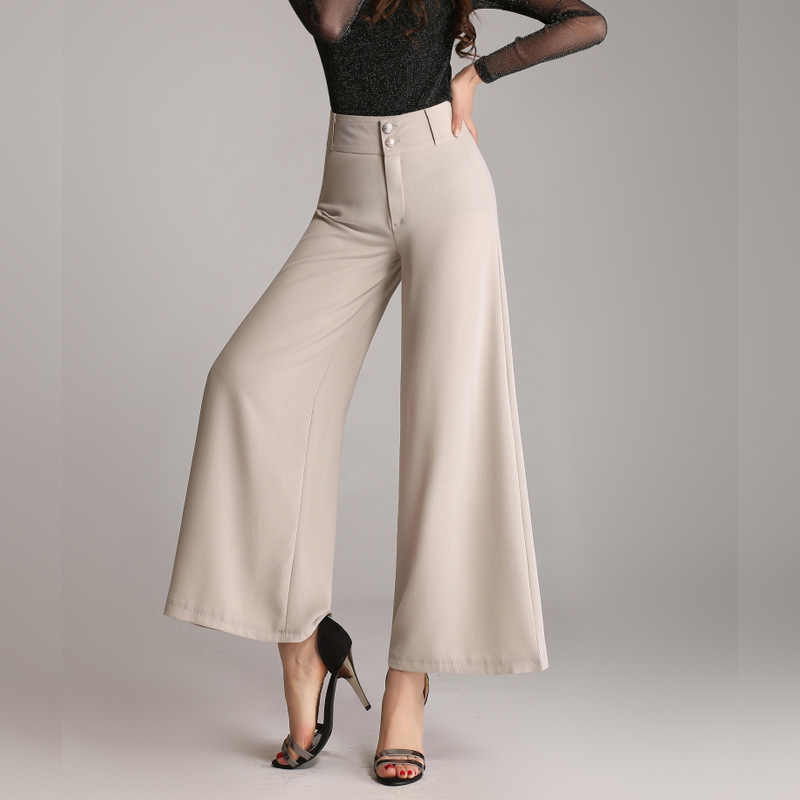 New plus large size pants women summer wide leg ankle length high waist casual loose thin pants female fashion trousers M To 6XL