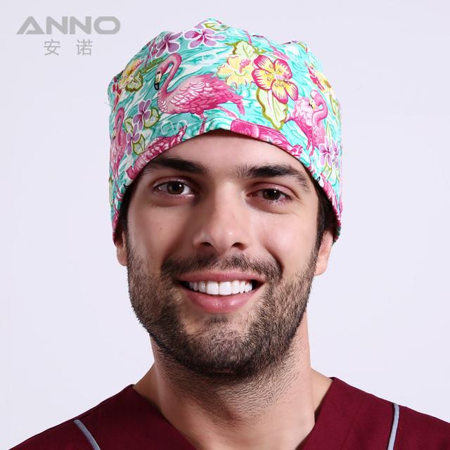 Scrub cap gorras de algodón con el patrón de belleza de impresión médico sombreros