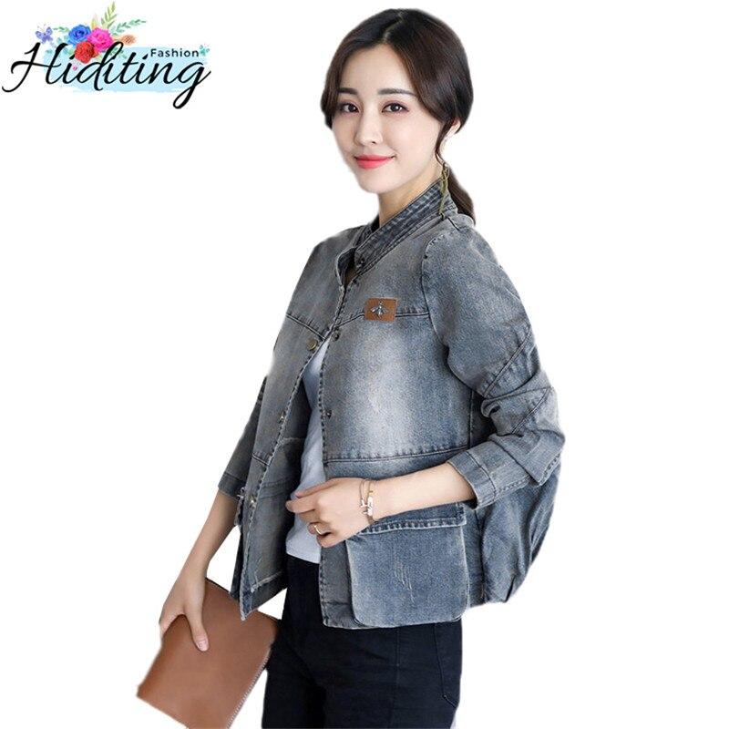 Large Size Ladies Denim Jacket Spring Single Breasted Fashion Jacket 2019 Autumn Casual Denim Coat Female