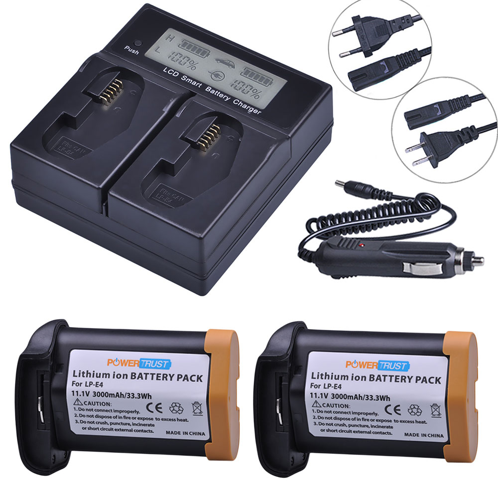 купить 2x 3000mAh LP-E4 LPE4 Battery + LCD Rapid Charger for Canon EOS 1D Mark III EOS-1D Mark IV EOS 1Ds Mark III EOS 1D C EOS1DX онлайн