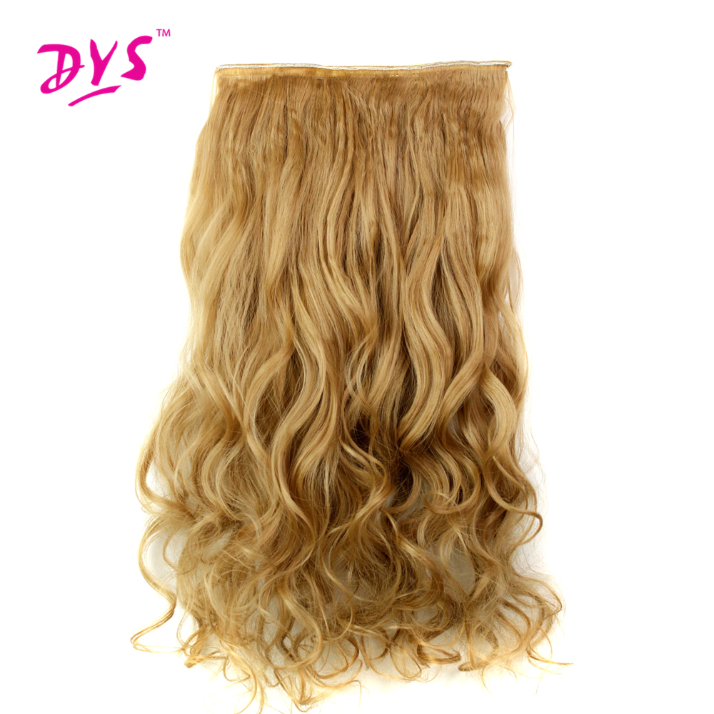 Deyngs 60CM One Piece 5 Clips in Hair Extensions For Women 3/4 Full Head Long Wavy16 Colors High Temperature Synthetic Fiber